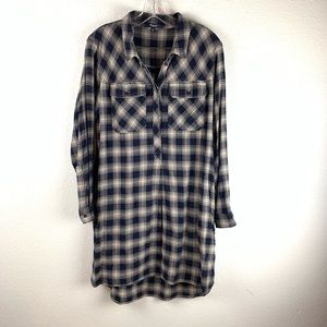 Madewell Plaid T-Shirt Pullover Dress size Medium